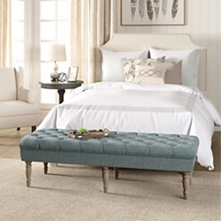 Layla Blue Button Tufted Bench