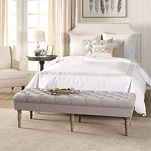 Layla Natural Button Tufted Bench
