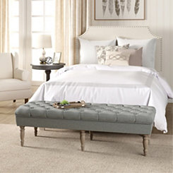 Layla Gray Button Tufted Bench