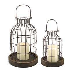 Weathered Wood and Metal Cloches, Set of 2
