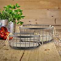 Coastal Wire and Wood Baskets, Set of 2