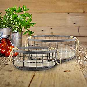 Coastal Wire and Wood Baskets, Set of 2