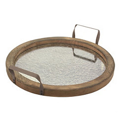 Rustic Round Distressed Mirror and Wood Tray