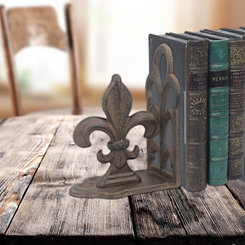 Rusted Iron Fleur-de-Lis Bookends, Set of 2