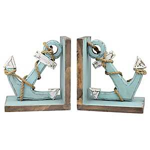 Distressed Blue Wooden Anchor Bookends, Set of 2