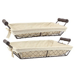 Rectangle Metal Wire And Fabric Baskets, Set of 2