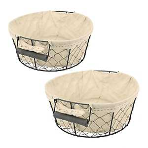 Round Metal Wire And Fabric Baskets, Set of 2