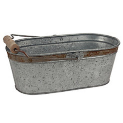 Rustic Galvanized Rectangle Bucket