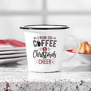 Coffee and Christmas Cheer Enamel Mug