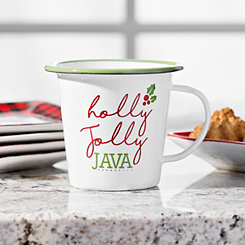 Holly Jolly Java Christmas Enamel Mug
