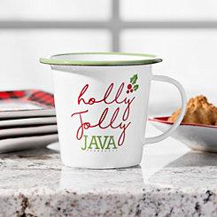 Holly Jolly Java Christmas Enamel Mug