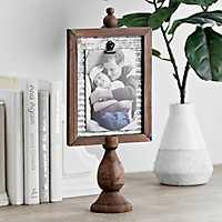 Wooden Pedestal Clip Picture Frame, 4x6