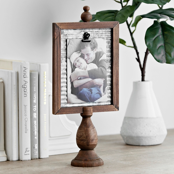 Wooden Pedestal Clip Picture Frame, 4x6