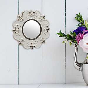 Distressed White Ceramic Wall Mirror