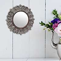 Distressed Gray Ceramic Wall Mirror