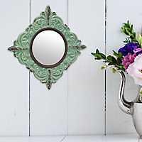Pale Ocean Distressed Ceramic Wall Mirror