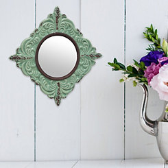 Pale Ocean Distressed Ceramic Wall Mirror