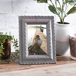 Gray Brown Carved Table Picture Frame, 4x6