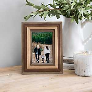 Tri-Colored Wood Tabletop Picture Frame, 4x6