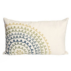 Blue Stitch Circles Outdoor Accent Pillow