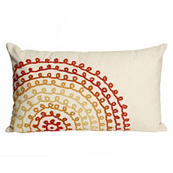 Orange Stitch Circles Indoor/Outdoor Accent Pillow