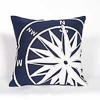 Navy Compass Indoor/Outdoor Pillow