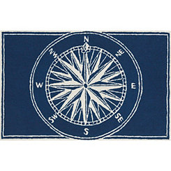 Navy Compass Indoor/Outdoor Rug