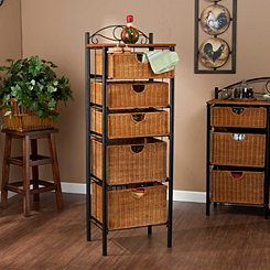 Allison 5-Drawer Wicker Storage Chest