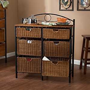 Allison 6-Drawer Wicker Storage Chest