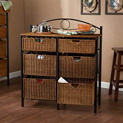 Allison 6-Drawer Wicker Storage Chest