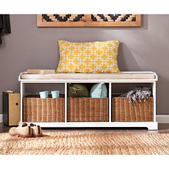 Sanga Storage Bench with Rattan Baskets