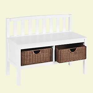 Rimay White Bench with Rattan Baskets