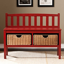 Rimay Red Bench with Rattan Baskets