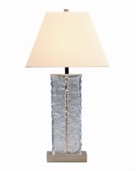 Pale Blue Glass Table Lamp