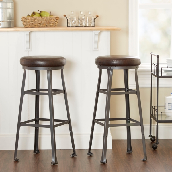 logan industrial bar stools set of 2 blue metal