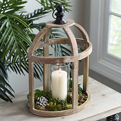 Caged Wood Lantern with Glass Hurricane