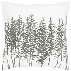 Silver Pine Tree Print Pillow