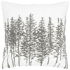 Silver Pine Tree Print Pillow