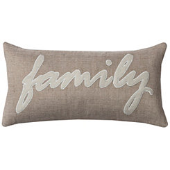 Family Jute Accent Pillow