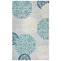 Blue and Gray Medallion Area Rug