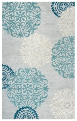 Blue and Gray Medallion Area Rug, 5x8