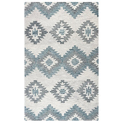 Blue and Gray Southwestern Area Rug, 5x8