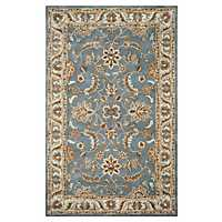 Blue and Brown Traditional Border Area Rug, 5x8