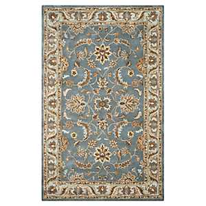 Blue and Brown Traditional Border Area Rug, 8x10