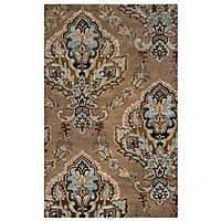 Brown and Blue Damask Area Rug, 5x8