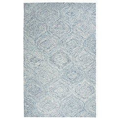 Blue and Ivory Space Dyed Area Rug, 8x10