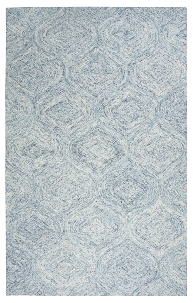 blue and ivory space dyed area rug 5x8