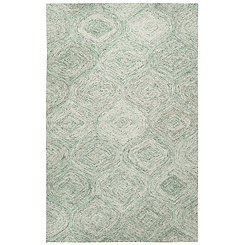 Green and Ivory Space Dyed Area Rug, 5x8