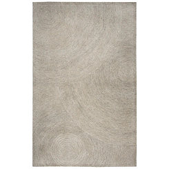 Gray and Ivory Space Dyed Swirl Area Rug, 8x10