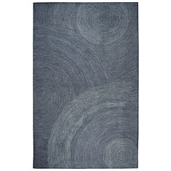 Indigo and Ivory Space Dyed Swirl Area Rug, 5x8